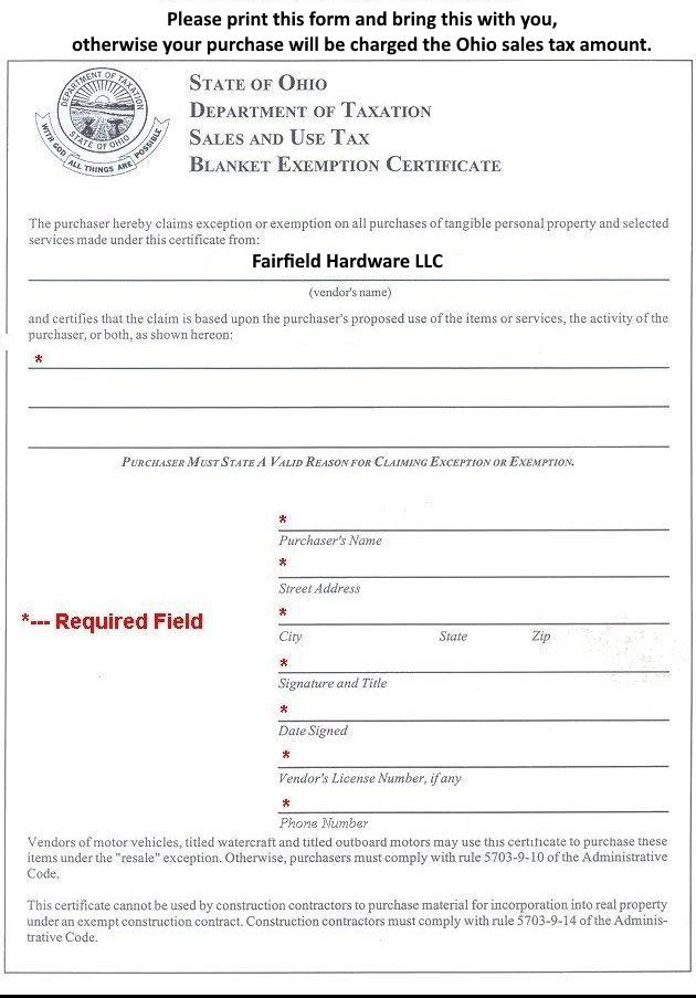 fairfield hardware ohio tax exemption form
